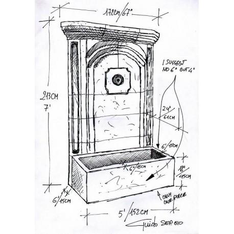 Grande fontana in pietra 14 pezzi 213x172 cm