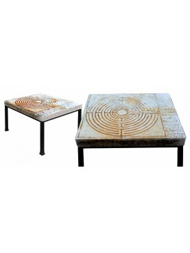 Little table Lucca Labirint - white Carrara marble