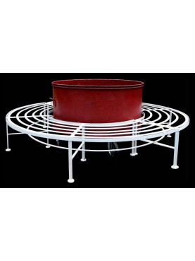 Circular container on wheels with bench