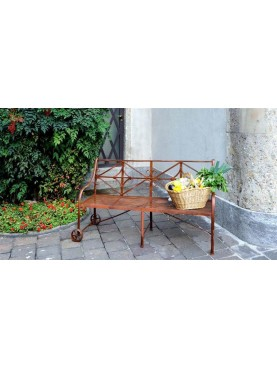 Settee iron bench with wheels