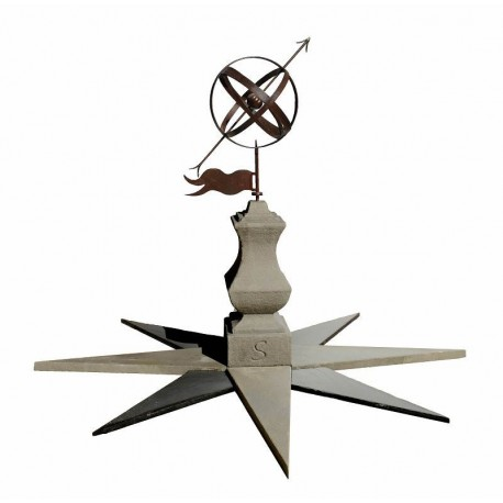 Wind Vane with armillary sphere and compass rose