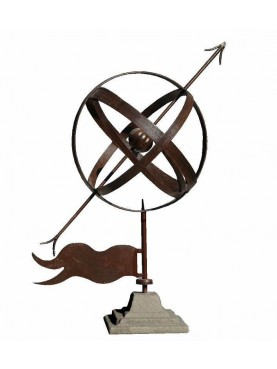 Armillary sphere with stone base