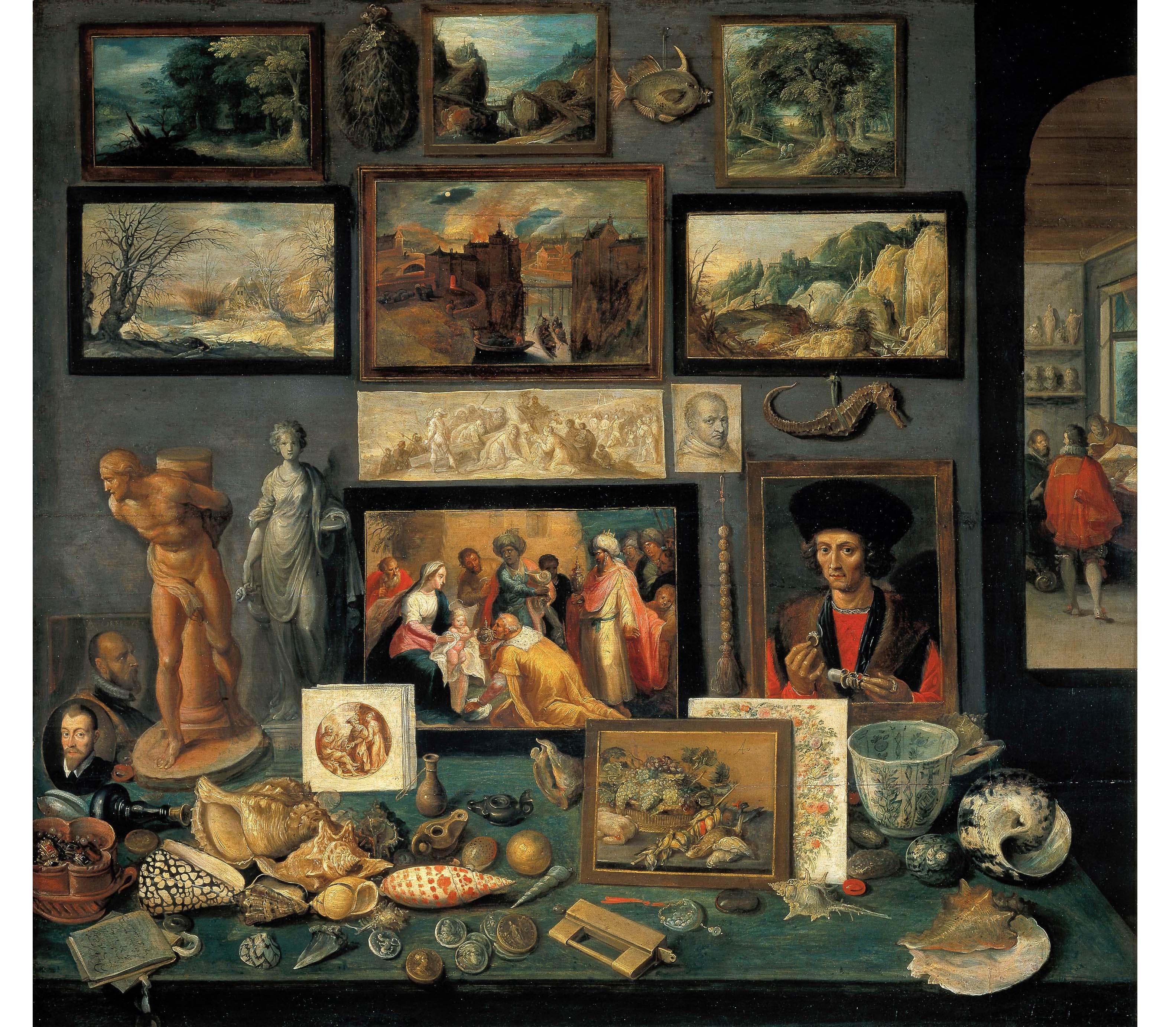 Frans Francken II (Anversa 1581 - 1642) Kunst und Raritätenkammer, 1636 (Ambras Castle)