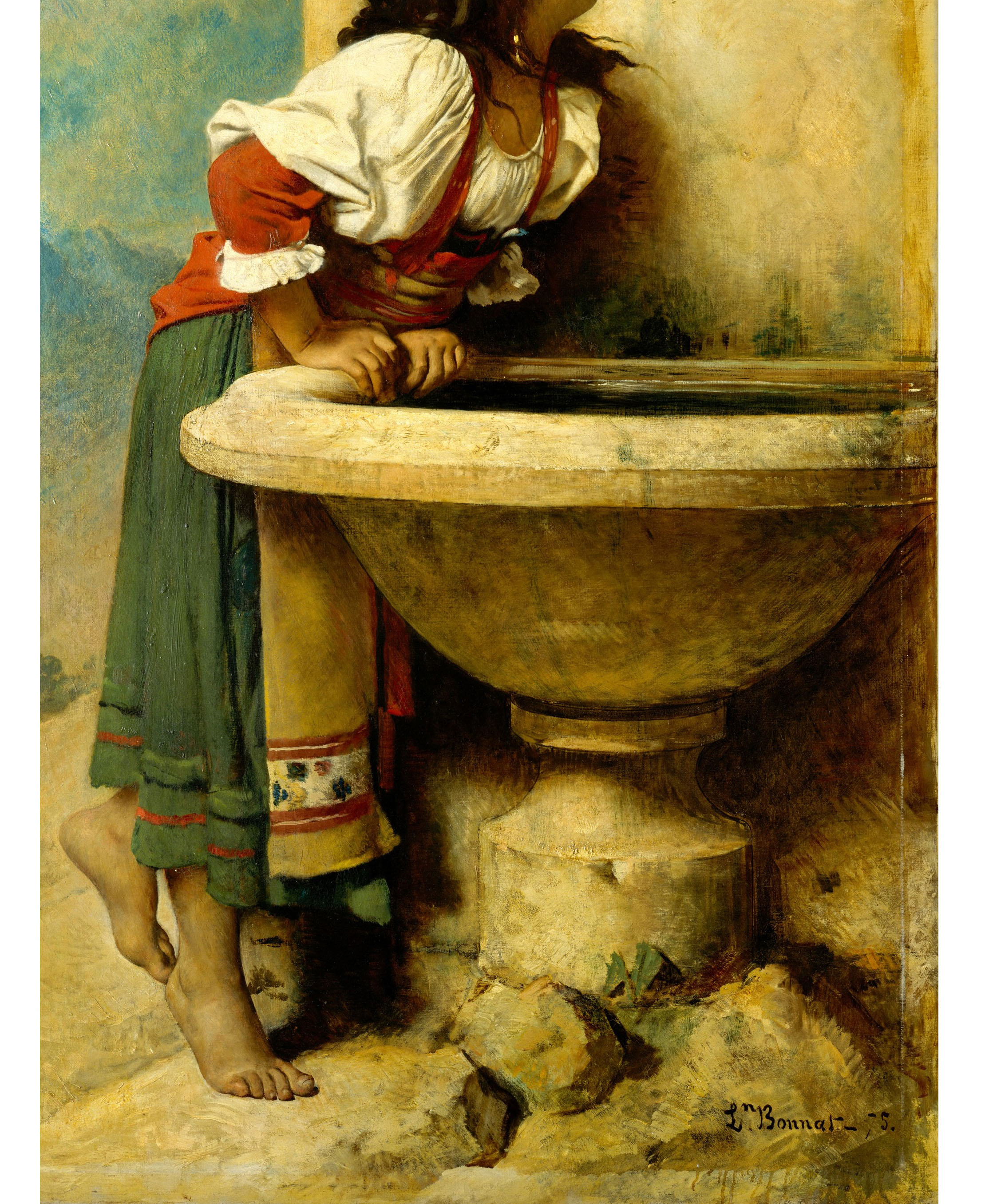 Dettaglio, Léon Bonnat (1833 - 1922), Roman Girl at a Fountain, 1875 (The Metropolitan Museum of Art, New York)