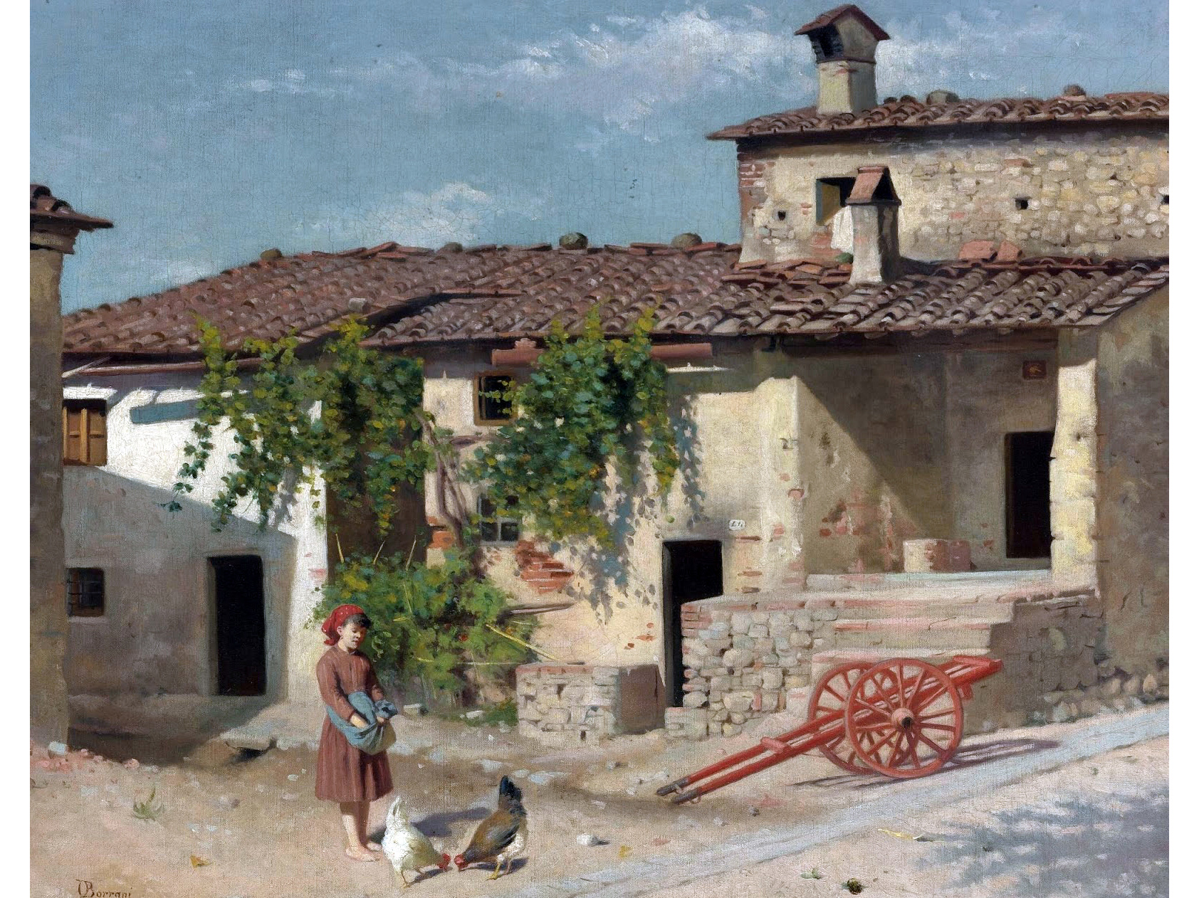 Odoardo Borrani (Pisa 1834 - Firenze 1905) Feeding the chickens
