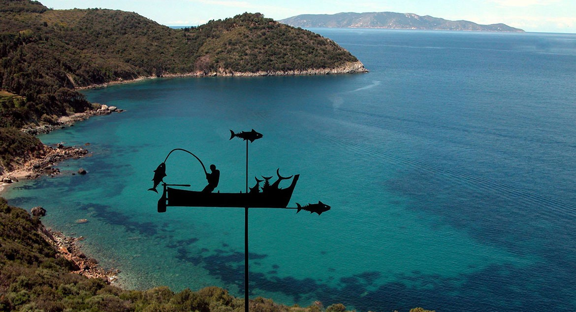 GREAT WIND VANE WITH LIGURIAN FISHERMAN